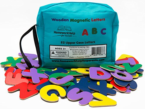 Classic 52 Wooden, Magnetic Letters - 2 Upper Case Alphabets - Great For Preschool Reading, Writing & Spelling - Play ABC Phonics Games With This Brightly - Colored Early Learning, Educational Toy! (Colored Alphabet Letters)