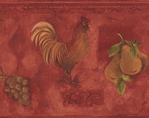 Red Border Rooster (Rooster Grapes Pears Cherries Red Wallpaper Border Paint by Design, Roll 15' x 9'')