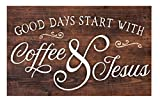 Good Days Start with Coffee & Jesus Brown 17 x 10.5 Wood Pallet Wall Plaque Sign