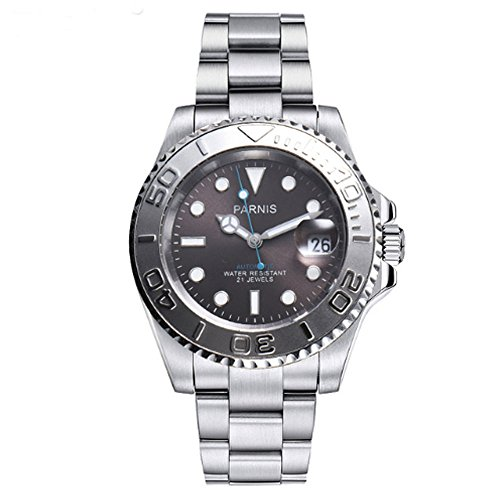 Parnis 41MM Sapphire Crystal 21 Jewels Miyota Automatic Movement Men's Watch Ceramic Bezel 50M Waterproof ()