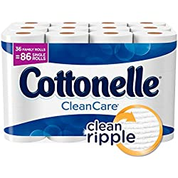 Cottonelle CleanCare Family Roll Toilet Paper, Bath Tissue, 36 Toilet Paper Rolls