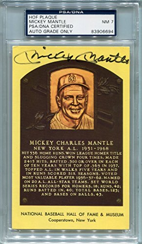 Mickey Mantle New York Yankees PSA/DNA Certified Authentic Autograph Hall of Fame Plaque Postcard (Autographed Postcards)