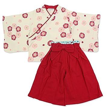 e866431387afc Amazon.co.jp: ベビー キッズ 袴風 女の子 2点 セット 茜色 120cm ...