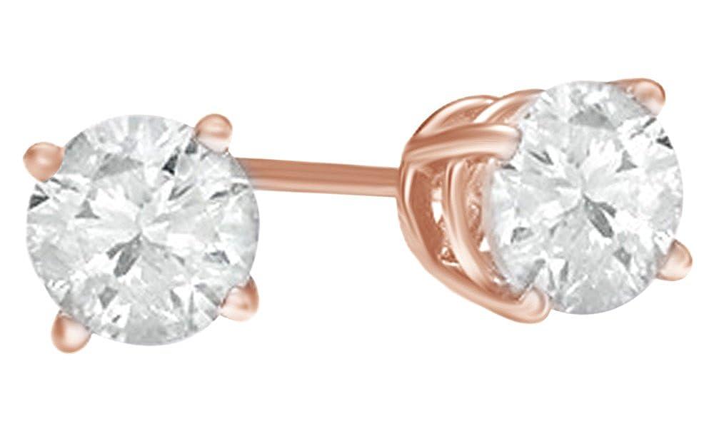 Weißszlig; natürlicher Diamant Solitaire Ohrstecker in 14 ct 585 Weißszlig; Gold massiv (1 Karat) 14 Karat RotGold