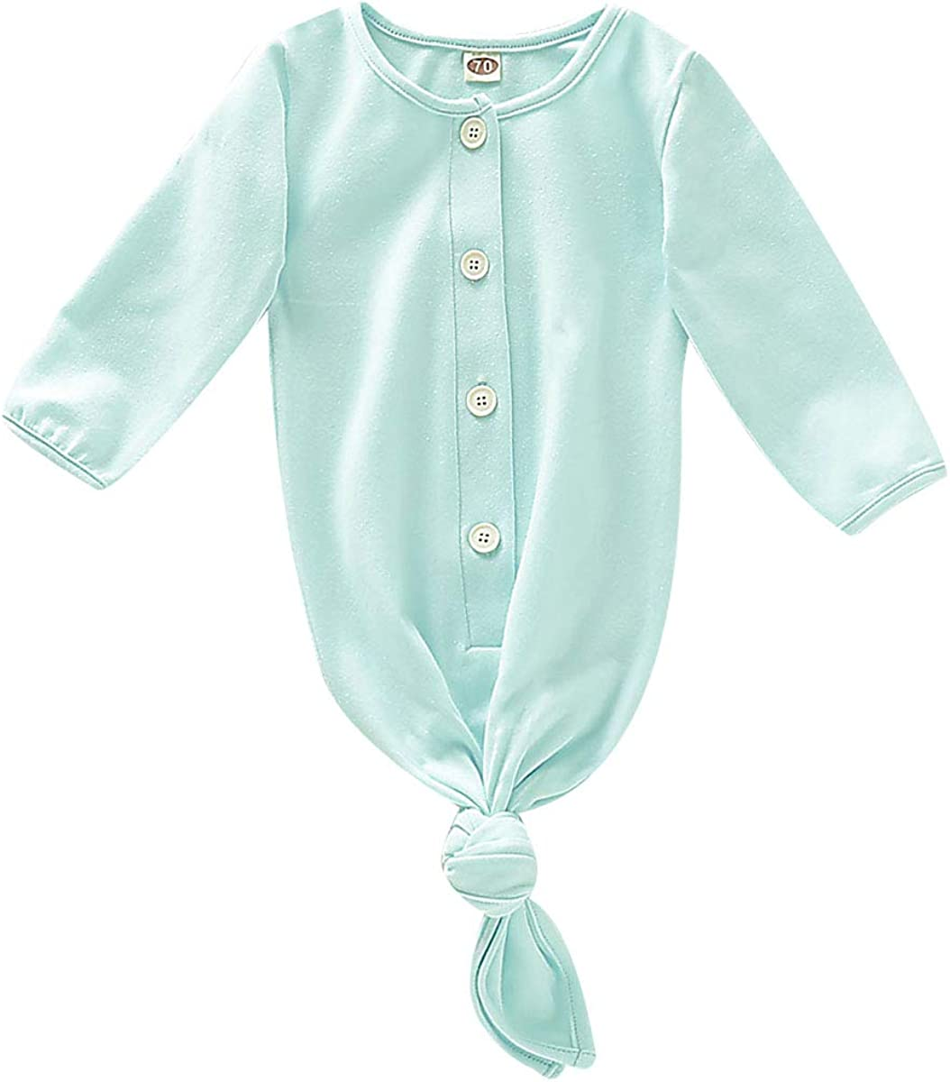 YOUNGER TREE Newborn Baby Sleeper Gowns Unisex Striped Cotton Nightgowns with Cap Long Knotted Sleepwear Sleeping Bag with Mitten Cuffs