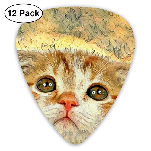 - Cute Kitty Cat Painting 351 Shape Classic Celluloid Guitar Pick For Electric Acoustic Mandolin Bass (12 Count)