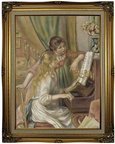 Historic Art Gallery Young Girls At the Piano 1892 by Pierre-Auguste Renoir Framed Canvas Print, 18