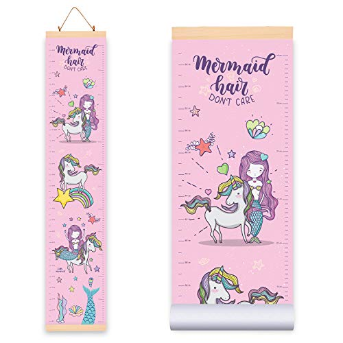 Unicorn-Mermaid Height Growth Chart for Kids Girls (10.2W x 56H Inches), Adorable Hanging Growth Chart Wall Decor for Kids Room - Durable Waterproof Canvas Cloth with Wooden Frame