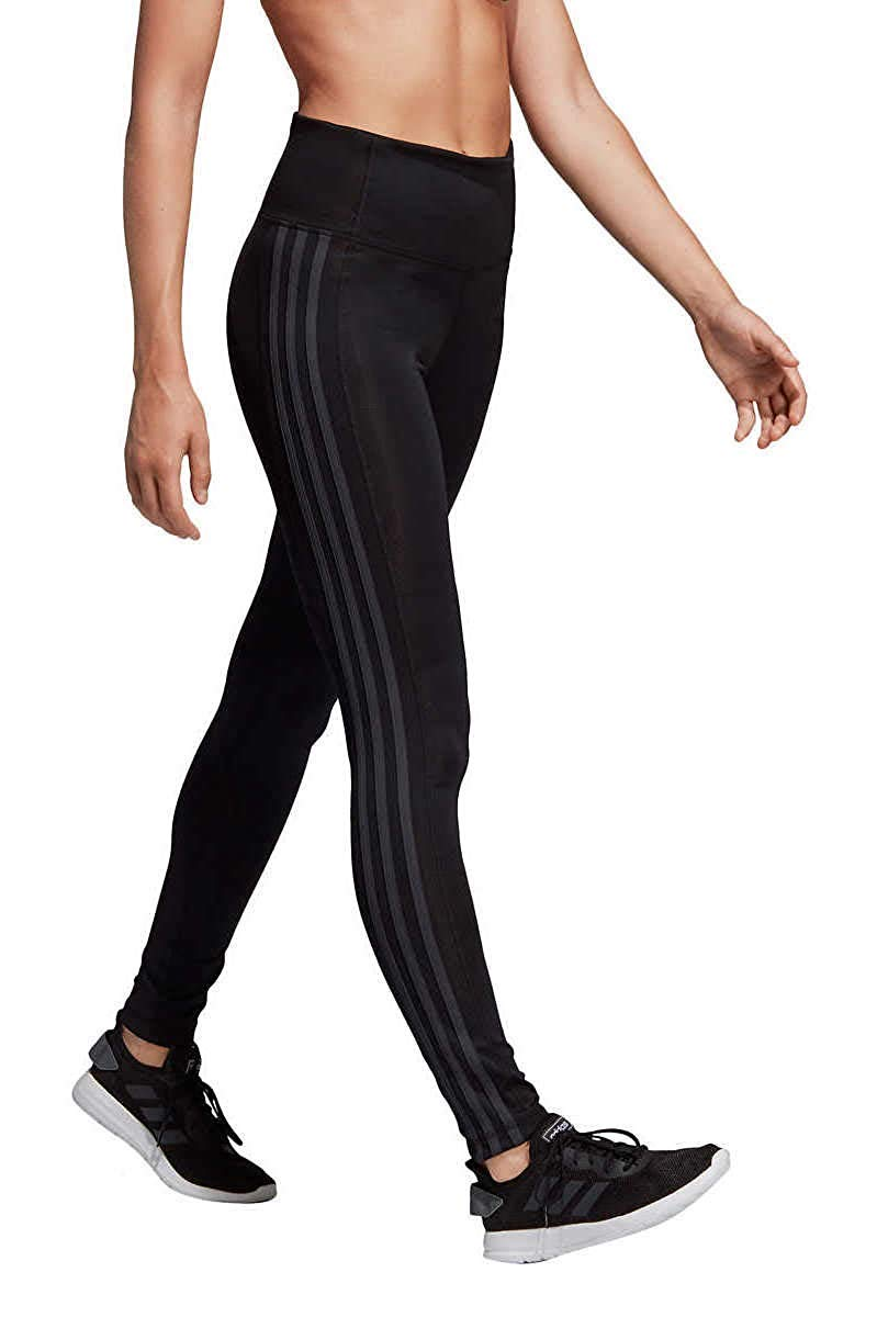 adidas Womens 3 Stripe Active Tights Black/Carbon Medium by adidas