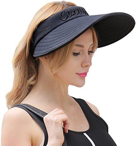 7a27e5b3254 CACUSS Women s Summer Sun Hat Large Brim Visor Adjustable Velcro Packable  UPF ...