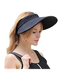 CACUSS Women's Summer Sun Hat Large Brim Visor Adjustable Velcro Packable UPF 50+
