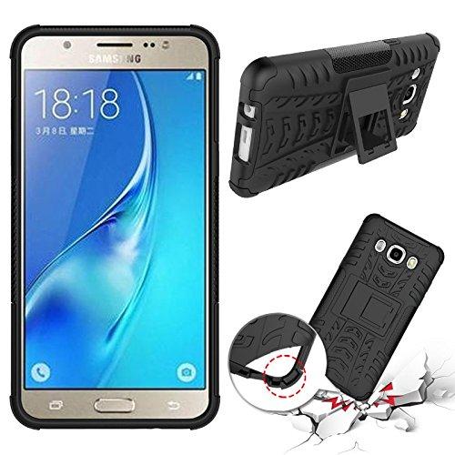 brand new e02a4 81083 Chevron Hybrid Kick Stand Back Cover Case for Samsung Galaxy J5-6 (New 2016  Edition) (Black)
