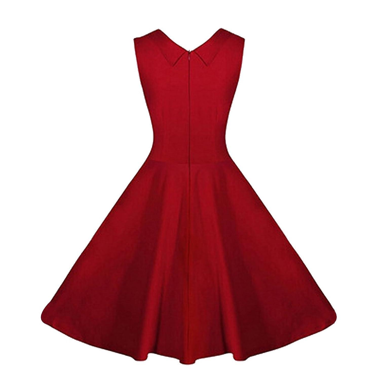 Partiss Damen Frauen Klassisch Elegant 60er Vintage Franzoesisch Stil Schleife Aermellos Knielang Kleid