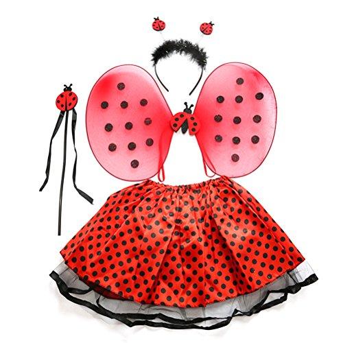 (BESTOYARD 4pcs/Set Lady Bird Costumes Headband Wand Tutu Skirt Set Angle Girls Fairy Dress Outfit)