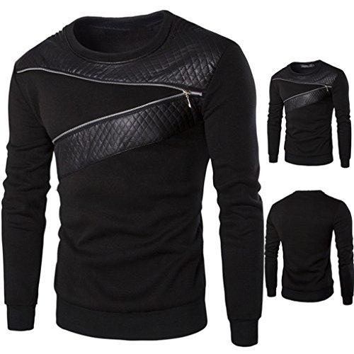 Mens Shirt,Haoricu Men Warm Splicing PU Leather Sweatshirt Zipper Coat Winter Jacket (L, Black)