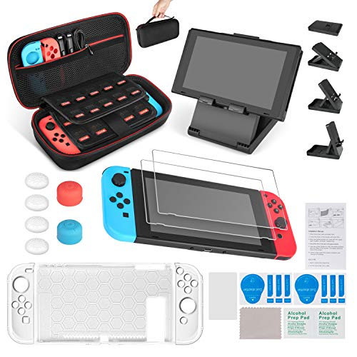 (Keten 13 in 1 Accessories Kit for Nintendo Switch Including Carrying Case / Switch Clear Cover Case / Adjustable Stand / Tempered Glass Screen Protector (2 Packs))
