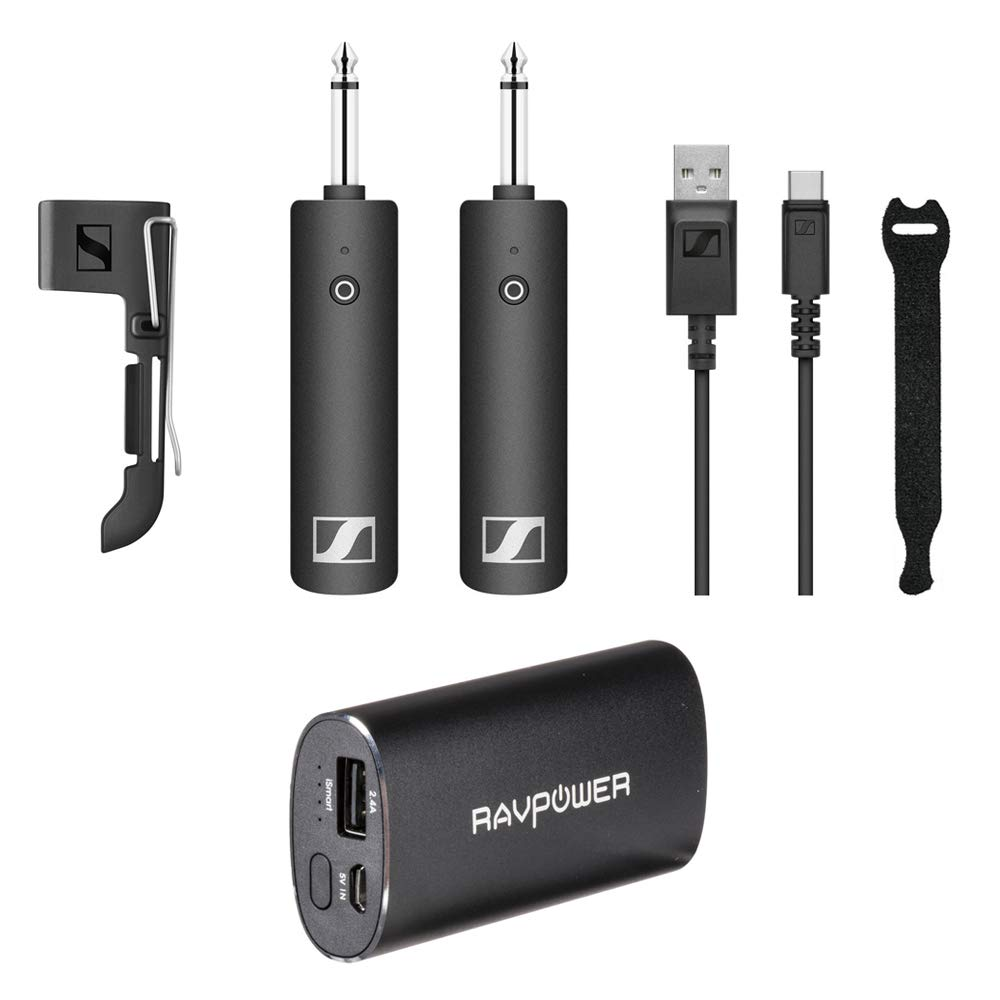 Sennheiser XSW-D Instrument Base Set with RAVPower Luster 6700mAh Charger & Fastener Straps 10-Pack Bundle by Sennheiser