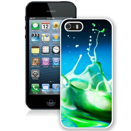 Coque,Fashion Coque iphone 5S Abstract Green Water Drop blanc Screen Cover Case Cover Fashion and Hot Sale Design