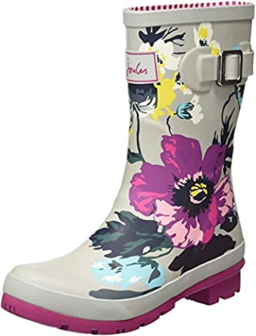 Joules Women's Molly Welly Rain Boot (8 B(M) US, Silver Posy Print) - Wellies