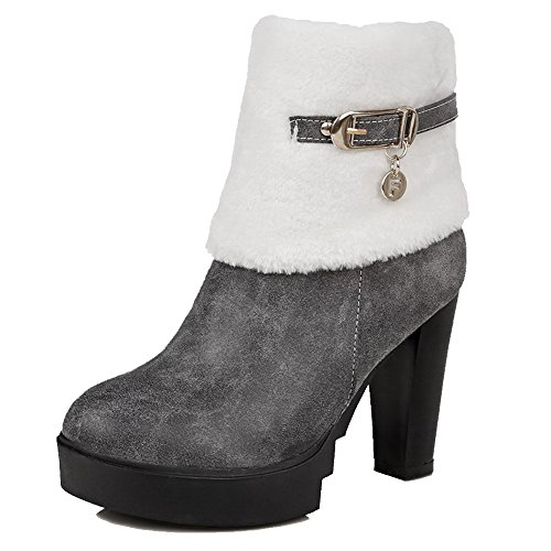 Solid Women's High Zipper Heels Gray Boots Toe Round Closed AmoonyFashion HSWFwqaH