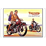 Tin Sign Motorcycle Bike Poster Metal Plate Wall Decor by Jake Box 20*30cm of Triumph Couple Racing A