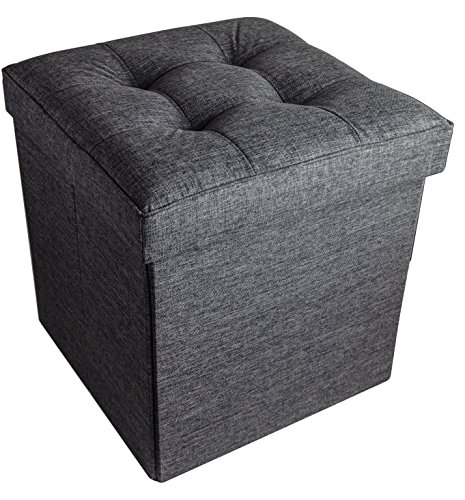 Folding Cube Storage Ottoman with Padded Seat, 15″ x 15″ – Asphalt Black For Sale