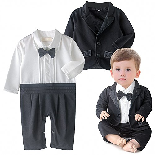 (iooico Baby Boy's Clothing Sets, 2Pcs Long Sleeve Tuxedo Gentleman Romper Outfit With Bowtie & Suit 24M (18-24)