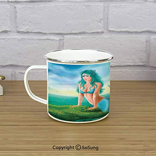 Mermaid Decor Enamel Camping Mug Travel Cup,Fantasy Young Woman Mermaid in Sea Waterlilies Wildflowers Sunrise Cloudy,11 oz Practical Cup for Kitchen, Campfire, Home, Travel