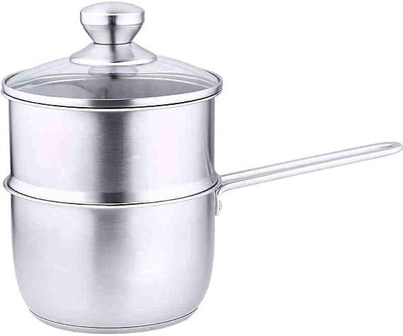 Lcme Mini Milk Pan, Edelstahl Stockpot mit Deckel mit ausgeglichenem Glasdeckel ideal für die kochende Milch, Sauce, Saucen, Pasta, Nudeln