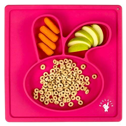 Placemats Dinnerware (Divided Toddlers Plates, Silicone Placemat for Kids, Suction Plates for Toddlers| Happy Bunny Rabbit Baby Feeding Placemat with Suction)