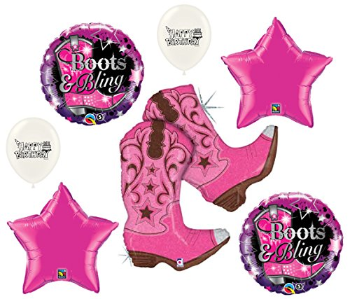 Boots and Bling Western Rodeo Party Supplies Balloon Bouquet Bundle ()