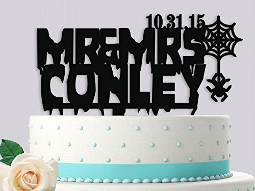 Halloween Mrs and Mrs with Date Wedding Cake Topper]()