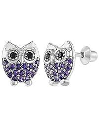 925 Sterling Silver Owl Earrings Screw Back Girls Teens Purple CZ Small