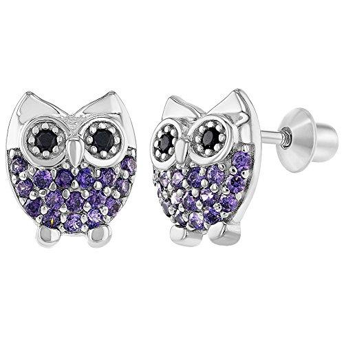 925 Sterling Silver Owl Earrings Screw Back Girls Teens Purple CZ Small (Baby Owl Jewelry)