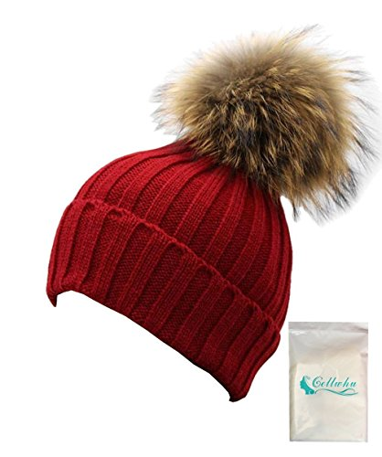 "Gellwhu Women Winter Detachable Large 7"" Real Raccoon Fur Pom Pom Knit Beanie Hat (Wine Red)"