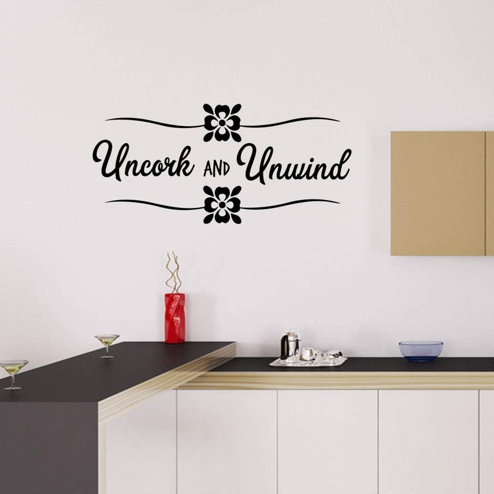N.SunForest Uncork and Unwind Vinyl Sticker Wall Decal Quote Mural Art Home Decor