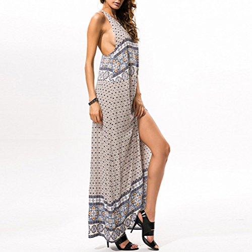 Zhhlaixing Moda Women Fashion Summer Long Dress Sleeveless Loose Beach Seaside Holiday Dresses Multicolor
