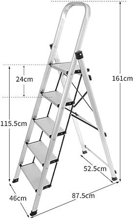 Escalera Multifuncional, Grueso Plegable De Aluminio Escalera Plegable, Cubierta Y Al Aire Libre Del Pedal De Escalera, 18 Cm Cima Del Pedal, Antideslizante Herradura Del Cojín Del Pie, Escuela De Esc: Amazon.es: