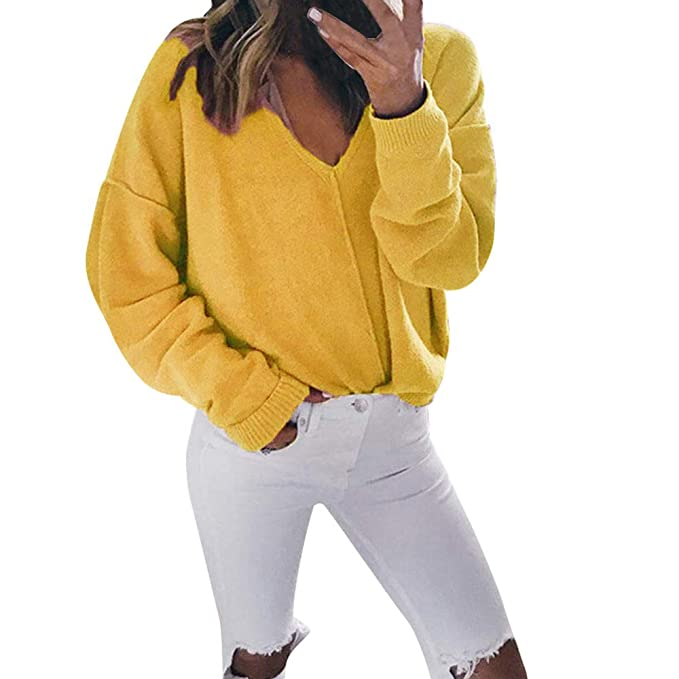 MYMYG Mujer Suéteres Invierno Jersey de Punto Suelto Color Sólido Manga  Larga Camisetas con Cuello en V Suéter para OtoñO Invierno Pull-Over Blusa  Jumper  ... e86f8e8a191d