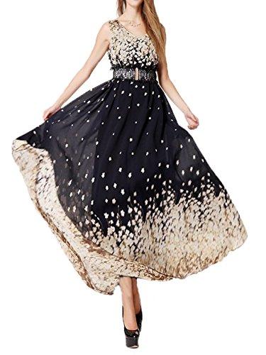 Women Floral Vintage Boho Prom Dress Black - 3