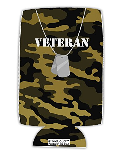 TooLoud Veteran Dog Tags Collapsible Neoprene Tall Can Insulator All Over Print]()