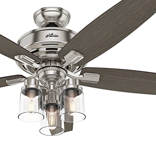 Hunter Fan 52 in. Brushed Nickel Ceiling Fan with 3 LED Lights and Remote Renewed