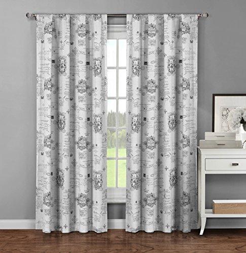 Window Elements Fleur De Lis Printed Cotton Extra Wide 104 x 96 in. Rod Pocket Curtain Panel Pair, Light Grey