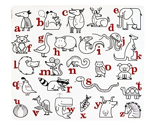 modern-twist Alphabet Animals Pattern Coloring Placemat Waterproof Silicone, Washable for ()
