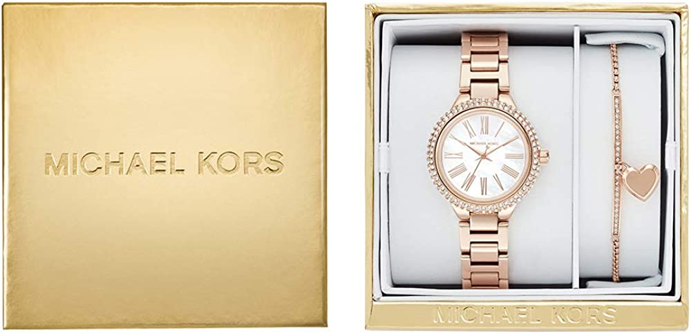 Michael Kors Women's Taryn Quartz Watch with Stainless Steel Plated Strap, Rose Gold, 16 (Model: MK3858)