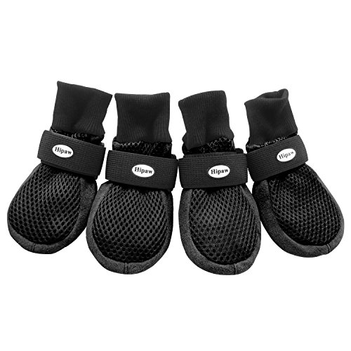 HiPaw Breathable Mesh Non-Slip Sole Outdoor Black Dog Boots 4 set