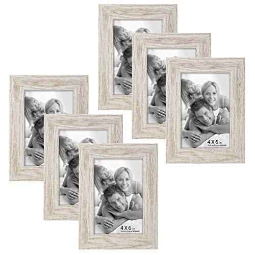 6 Pack 4x6 Picture Frame Wood Pattern High Definition Glass Tabletop or Wall,White Woodgrain Photo Frames