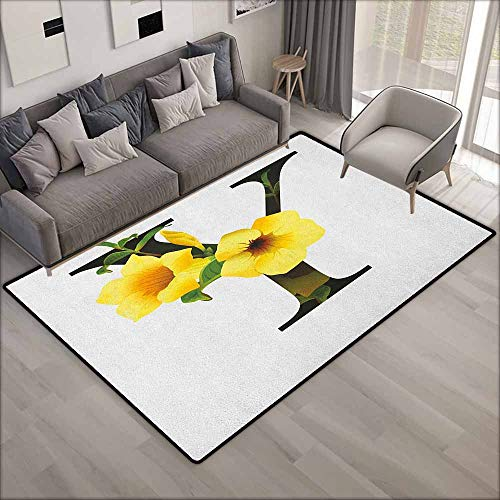 Outdoor Patio Rug,Letter Y Y Letter with Yellow Bell Flower Natural Representation in Abstract Design,Anti-Slip Doormat Footpad Machine Washable,3'3