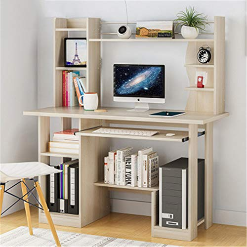 Home Office Desk with Bookshelf PC Computer Table Desks for Small Spaces Office Desk with Hutch and Drawers,A