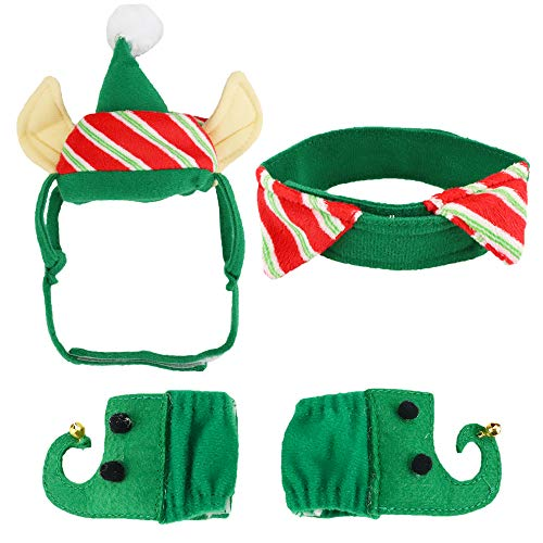 Aiwind Christmas Cat Dog Pet Green Elf Costume Xmas Clothes Accessories Hat with Ear Holes Neck Collar Leg Sleeves for Kitten Puppy Small Pets]()
